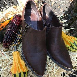 Brown shoe bootie slight western flare